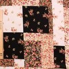 Floral Squares - Polyester Stretch Jersey - Cream Black